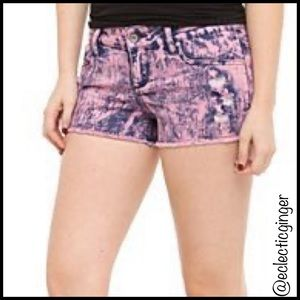 LOVEsick Pink/blue washed distressed jean shorts